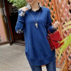 08d0d2fe0 Cheapest Sweater Korean Fashionable Long Sleeves Collared Sweater Blue Ropa  Para Mujeres Embarazadas
