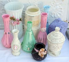 Up-cycled flea market glass vases((bottles-beautiful-jars))