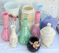 Up-cycled flea market glass vases((bottles-beautiful-jars))