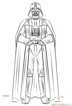 How to draw Darth Vader step by step. Drawing tutorials for kids and beginners.