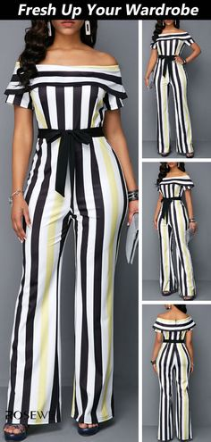 High Waist Overlay Striped off The Shoulder Summer Jumpsuit Simple Fall Outfits, Fall Fashion Outfits, Look Fashion, Fashion Dresses, Womens Fashion, Fashion Ideas, Fashion Hats, Casual Outfits, Autumn Fashion Grunge