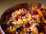 Sweet Couscous with Nuts and Dried Fruit Recipe: pack in the nutrition by cutting out the sugar (or use a shbstitute), substituting 1c water for 1c almond milk or low fat milk, also increase protein by adding 1/2 to 1 scoop of vanilla whey or casein.  Great with any dried fruits you have in the cupboard!