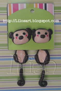 earrings made with sculpey. #jewelry #fimo #accesories #monkey #aretes #polimer clay #handmade