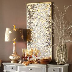 Need this panel for my bedroom makeover. taupe/mushroom with accents of gold, silver, red, metallic, glass (featuring Pier 1 Imports' Mirrored Damask Panel - Champagne) Mirror Panel Wall, Mirror Mosaic, Mosaic Wall Art, Wall Mirrors, Pier One Wall Decor, Living Room Decor, Bedroom Decor, Glam Bedroom, Sweet Home