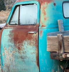 1952 Chevrolet Rusty Teal Blue Pickup Frosty by CheyAnneSexton