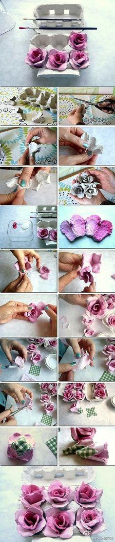 鸡蛋盒做的花,又美又创意!