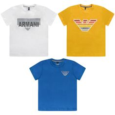 Armani Boys White Blue & Yellow Tops Set (3 Pack)