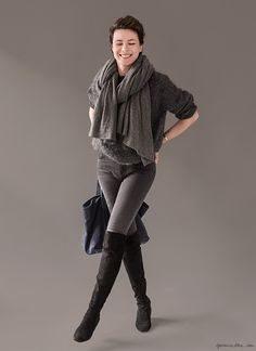 Over the knee boots, Gianvito Rossi, grey Sweater, Joe Fresh; Jeans, Acne; Scarf, White + Warren / Garance Doré