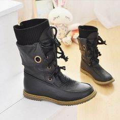 Fashion Vintage Lace up Women Motorcycle Snow Boots