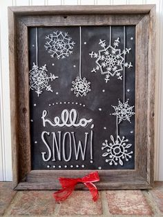 Christmas Holiday chalkboard chalk art from Main Street Chalk Signs chalk art rustic wedding shabby chic hand lettering let it snow snowflake Blackboard Art, Chalkboard Drawings, Chalkboard Lettering, Chalkboard Designs, Chalkboard Ideas, Chalkboard Fabric, Chalkboard Doodles, Small Chalkboard, Chalk Drawings