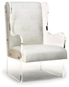 "Acrylic Wingback Chair - $4490 Bliss Home & Design   Width 22.5""  Depth 28.0""  Height 40.0"""