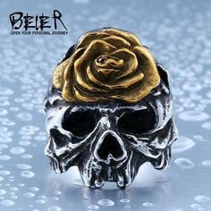 Beier new store 316L Stainless Steel  ring new special flower Skull Ring Amazing arrival fashion jewelry BR8-411 * gothic jewelry, gothic rings, gothic jewelry rings, gothic accessories, gothic accessories jewellery, gothic jewelry & accessories