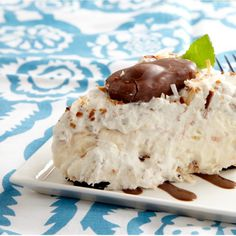 """Mounds of Joy"" Whipped Pie-with coconut, almond joy, cream cheese, pudding, oreo crust"