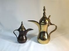 Vintage Set of 2 Brass Turkish Coffee Pots Decorative Pieces Large One has Stamp