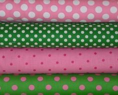 Pink and Green Dots, 1/2 yard bundle. $17.50, via Etsy.