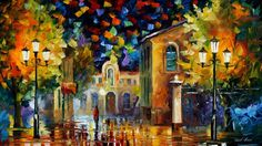 Midnight Wonders - By Leonid Afremov Light Painting, Oil Painting On Canvas, Painting Prints, Canvas Art, Knife Painting, Painting Art, Types Of Painting, Expressive Art, Amazing Drawings