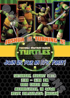 Items similar to Nickelodeon Teenage Mutant Ninja Turtles Epic Birthday Invitation - Printable on Etsy Ninja Turtle Invitations, Printable Birthday Invitations, Ninja Turtle Birthday, Ninja Turtle Party, Party Themes, Party Ideas, Teenage Mutant Ninja Turtles, Thank You Cards, Your Cards