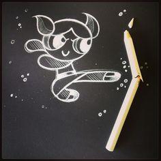 Tribute To Powerpuff Girls Sketch by: Stefano Di Lollo (Prismacolor white pencil #PC938, Fabriano black Ingres paper).
