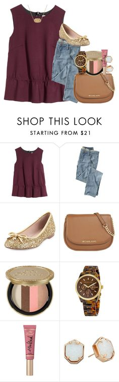 """when hannah montana is on demand"" by thefashionbyem ❤ liked on Polyvore featuring H&M, Wrap, Kate Spade, MICHAEL Michael Kors, Too Faced Cosmetics, Michael Kors, Kendra Scott, women's clothing, women and female"
