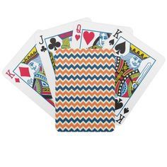 Colorful Blue and Orange Chevron Stripes Zig Zags Deck Of Cards