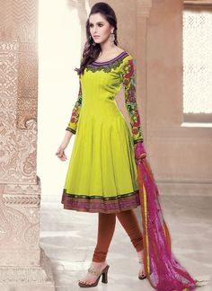Fabulous Yellow Silk Cotton Anarkali Suit