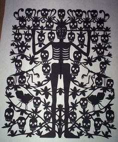Margarita Fick Papel Picado Skeleton and Skulls