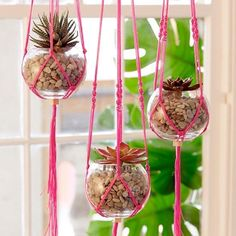 25 Lovely DIY Hanging Planters.  see idea using plastic fish bowls...combine the two?...