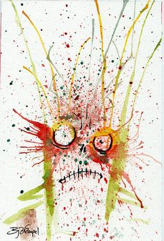 Apocalyptically Explosive #Abstract #zombie #artwork for sale from Byron Rempel 4x6 inks and watercolor on watercolor paper.