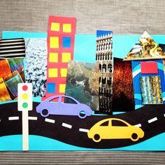 Tapa porta trabajo escolar. Dibujar una ciudad. Collage para niños
