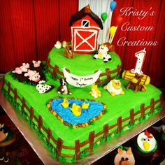"First Birthday Farm Cake by Kristy's Custom Creations. Yellow butter recipe cake with homemade buttercream. Rice krispie barn covered in marshmallow fondant and hand sculpted marshmallow fondant farm animals, fence posts, hay bale, rocks, birthday sign, and balloons. {I made this cake for my sons 1st birthday. The theme was ""There was a farmer who had a dog and B.I.N.G.O was his name-o"". My son loves all animals but he especially loves dogs so I meshed the barnyard and dog theme together.}"
