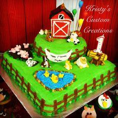 Farm Animal Cakes, Farm Animal Party, Farm Animal Birthday, Cowboy Birthday, Farm Animals, Barnyard Cake, Barnyard Party, Farm Cake, Farm Party