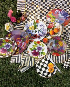 """MacKenzie-Childs """"Flower Market"""" Dinnerware. This pin may contain affiliate link."""