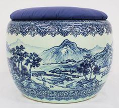 Japanese blue and white hibachi.