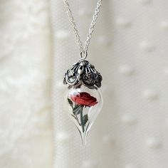 Classic Red Rose Flower Glass Vial Terrarium Necklace by Woodland Belle
