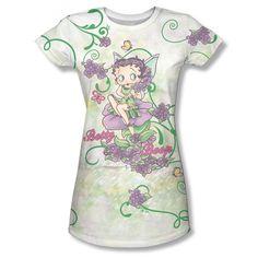 8f3f468b Betty Boop TV Cartoon Flower Fairy Ladies Women All Over Vintage JR T-shirt  top Official Licensed Betty Boop T-shirt All Over Front Sublimation Print