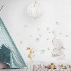Fabric wall decal by Aida Zamora Tube Carton, Deco Kids, Elephant Illustration, Paint Effects, Nursery Wall Decals, Love Wallpaper, Art Wall Kids, Vinyl, Textured Walls