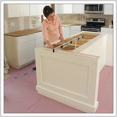 Diy kitchen island with stove cupboards 21 Ideas Kitchen Island With Stove, Farmhouse Kitchen Island, New Kitchen, Kitchen Islands, Kitchen Ideas, Kitchen Designs, Soapstone Kitchen, Kitchen Cabinets, Base Cabinets