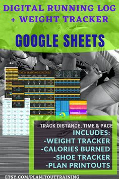 DIGITAL RUNNING LOG FOR GOOGLE SHEETS With this Running Log, not only can you track your miles run and time, but you can also use this to track your weight and estimate calories burned. This Running Log allows you to create and modify your training plan as well as label your runs to help you track the types of runs you do (i.e. speed training, recovery, & distance). Also included is a data dashboard that displays your data through lists and graphs, which can be rearranged or removed as needed. Training Schedule, Training Plan, Calories Burned, Burn Calories, Track Distance, Data Dashboard, Interval Running, Speed Training