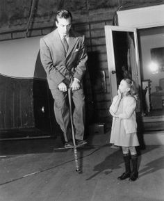 John Payne and Natalie Woods goof around behind the scenes of Miracle on 34th Street