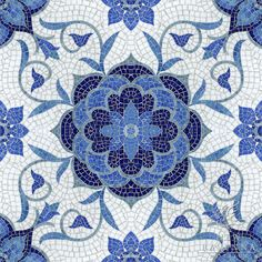 The Delft mosaic tile collection from New Ravenna Mosaics -- Aurelia, a jewel glass mosaic, is shown in Lapis Lazuli, Iolite, Mica, Absolute White, and Blue Spinel.