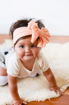 Etsy Transaction - Fuzzy Navel Peach Messy Bow Headwrap