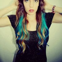 Ombre Turquoise Blue Tip Dyed Hair Extensions Dark Brown/Black, 22 inches long, Clip In Hair Extensions, Hippie Hair, Dipped Dyed Hair