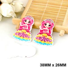 50pcs/lot Cartoon Lovely Dress Princess Flatback Resin DIY Planar Resin Crafts for Phone & Home Decoration Accessories DL-519