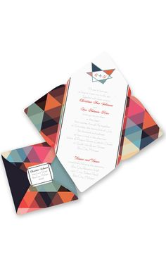 Contemporary Geometric Seal and Send Wedding Invitation by David's Bridal | Follow us and start pinning pretty paper options - from invitations and save the dates to programs and table numbers - for a chance to win $1,000 to InvitationsbyDavidsBridal.com. Enter here: http://sweeps.piqora.com/rsvpready