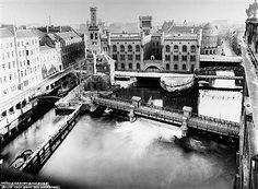 Berlin Mühlendamm Schleuse ca 1910 Blick vom Dach des Marstalls