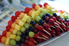 Rainbow fruit kabobs - i thnk I'd swap the blueberries with blackberries but still cute/healthy