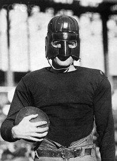 "1920s: Full face ""executioner style"" leather American football helmet -Retronaut"