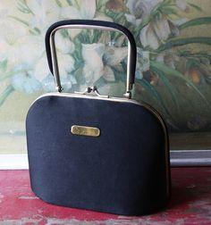 1950's Black Wool Sleek Box Purse by ValsVintageShoppe on Etsy, $26.00