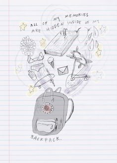 """from Rookie Magazine: """"All of my memories are hidden inside of my backpack."""""""