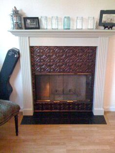 Tile Fireplaces Design Ideas interior excellent decorating ideas usinng rectangular brown wooden mantels and contemporary fireplace tile ideas also with brown laminate floor Tin Tile Fireplace Design Ideas Pictures Remodel And Decor